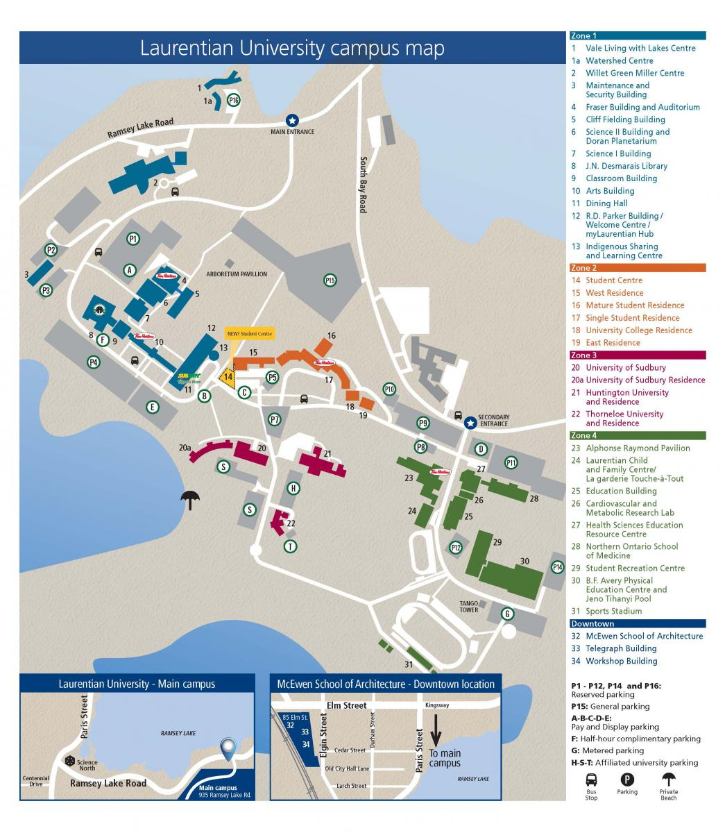 Laurentian University campus map